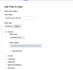 add filter to exclude spam from google analytics