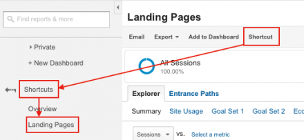 how to add report shortcuts in google analytics
