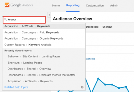 search for reports in google analytics