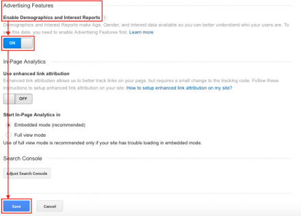 enable demographics and interests reports in google analytics