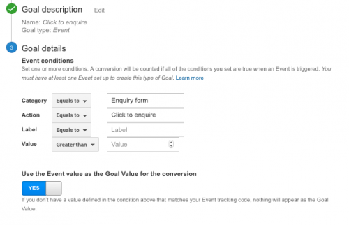 set up event goal in google analytics