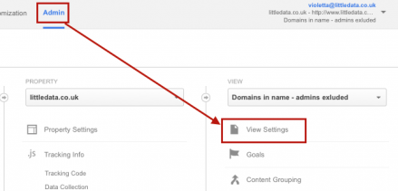 adjust your google analytics view settings