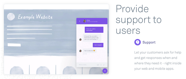Intercom support messaging