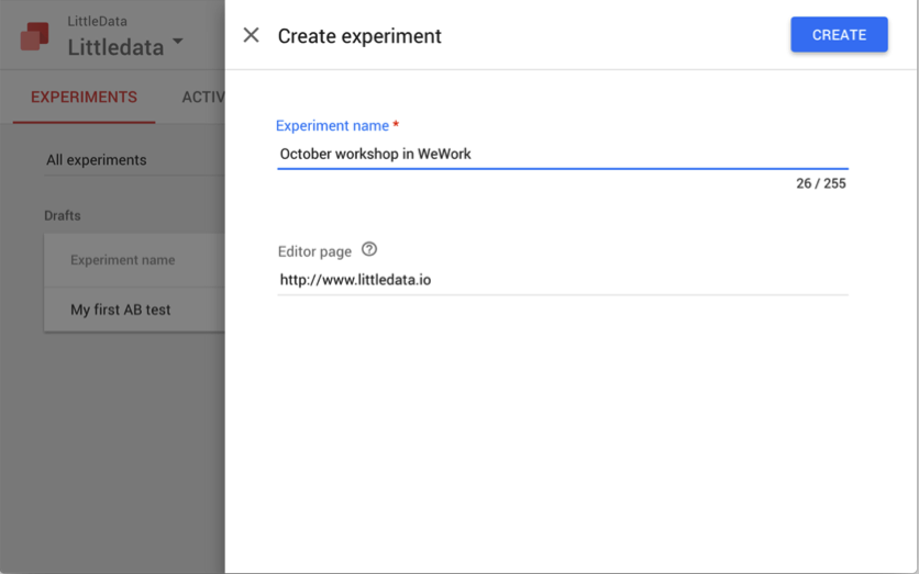 Creating an experiment in Google Optimize
