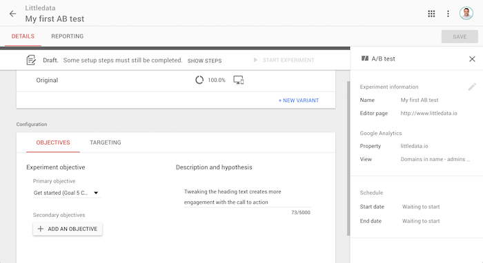 A glimpse into a Littledata AB Test in Google Optimize