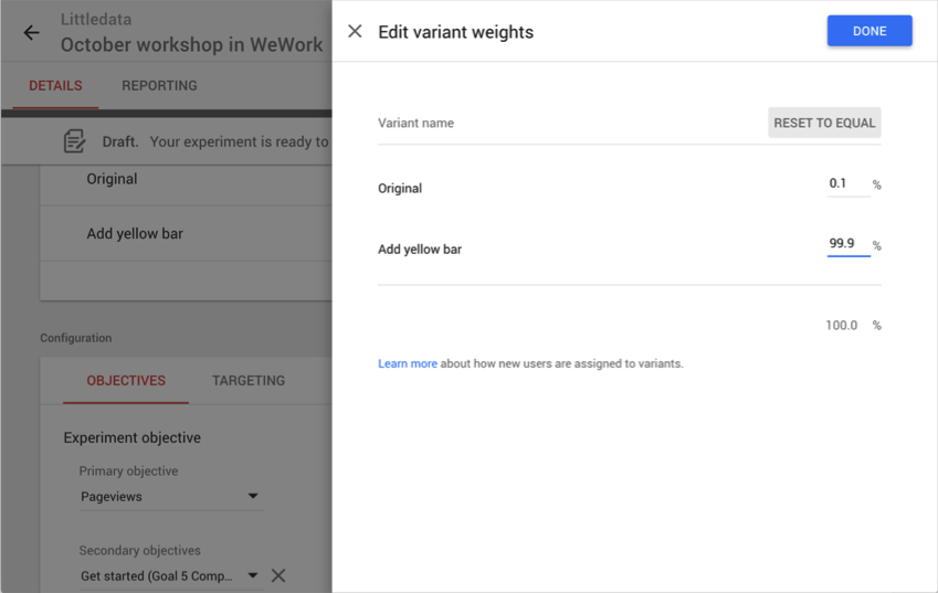 Editing variant weights in Google Optimize