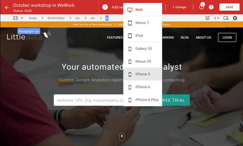 Mobile device checklist in Google Optimize