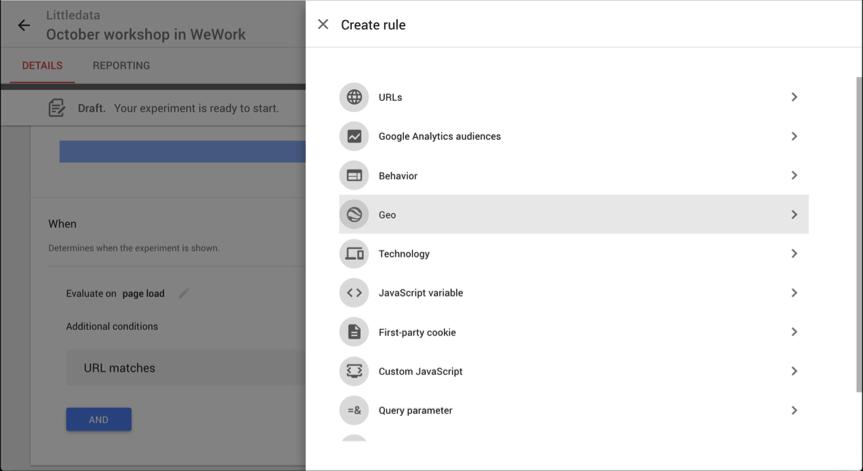 Setting geotargeting in Google Optimize
