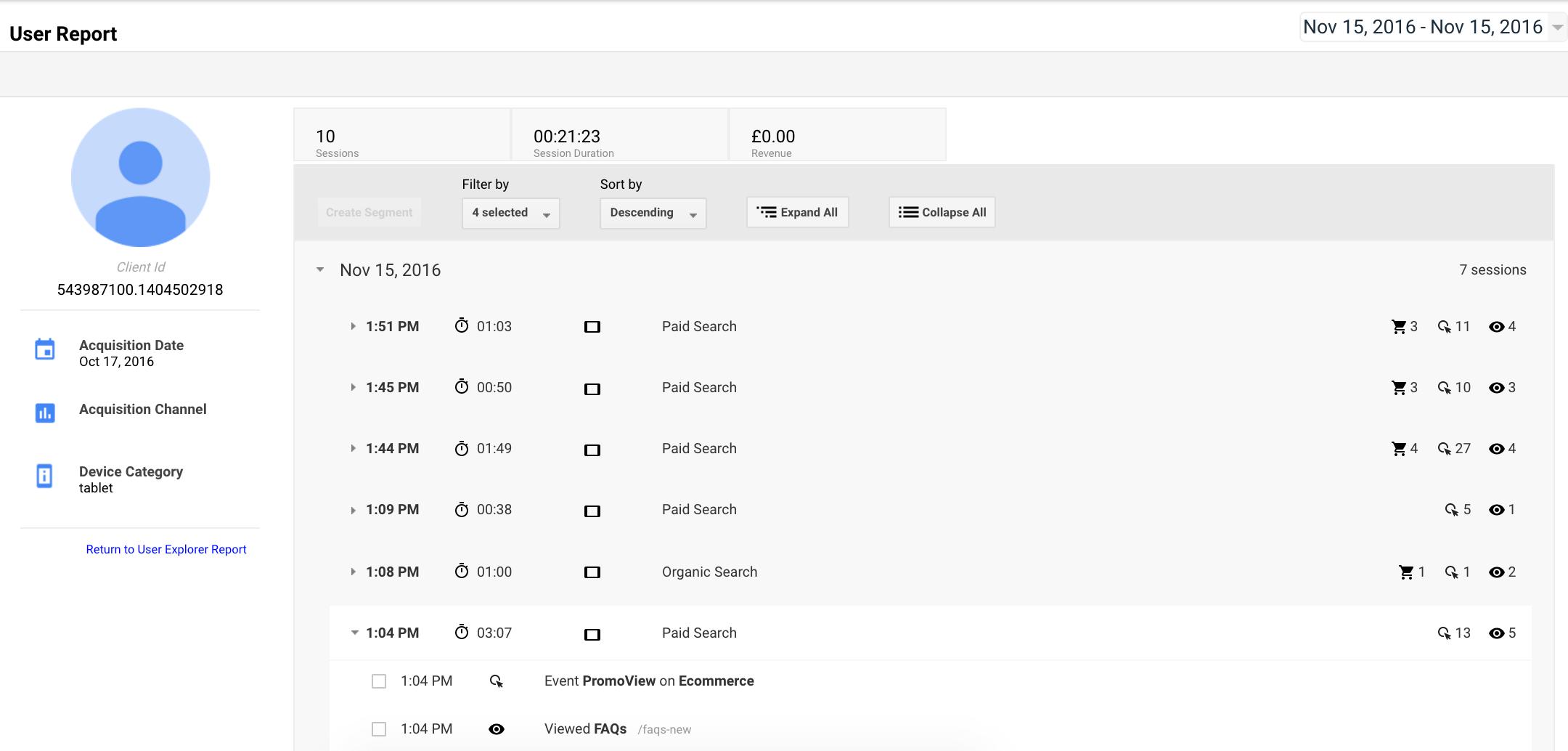user explorer in google analytics