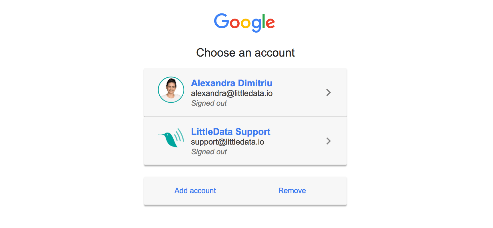 Choose the Google Account that has access to Google Analytics