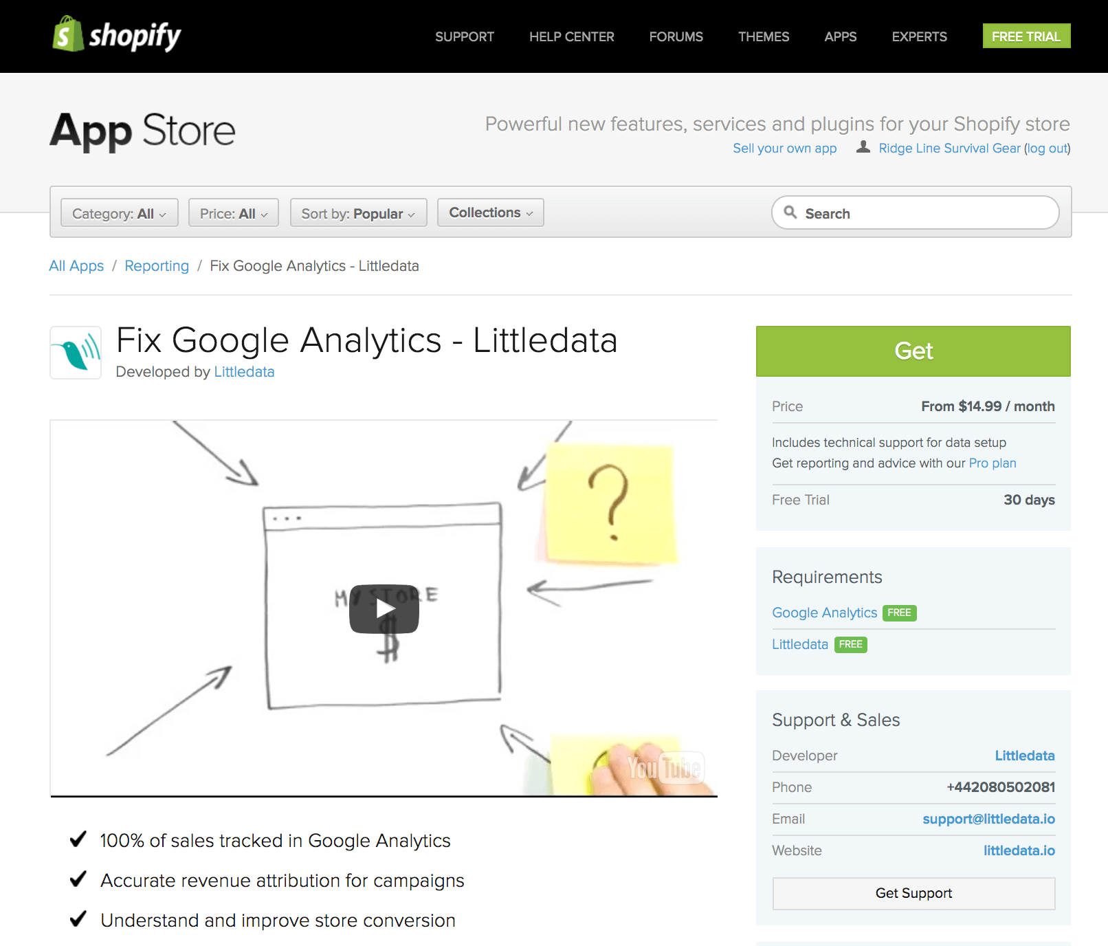 Fix Google Analytics app for Shopify stores