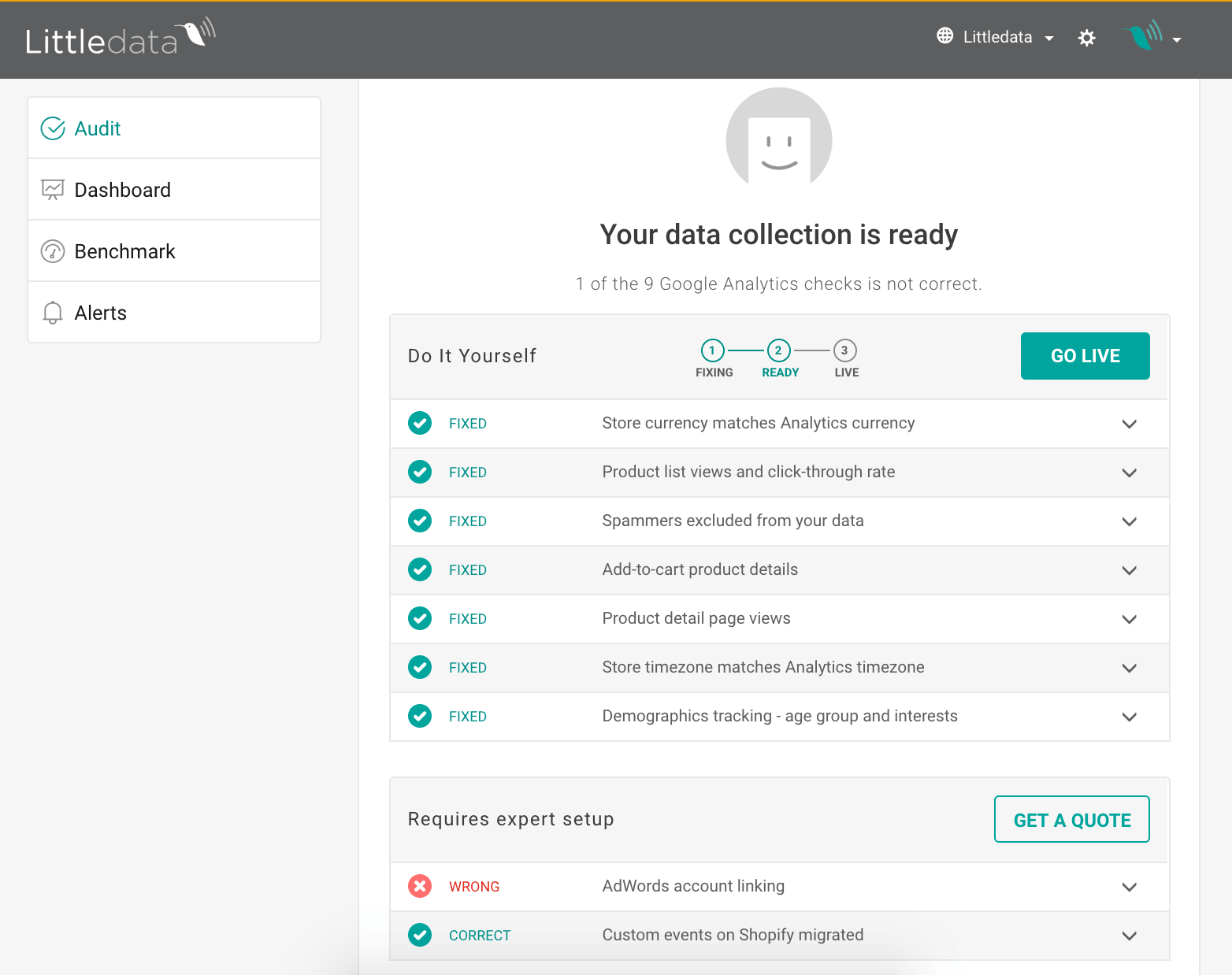 After you verify tha data you can go Live with the new tracking