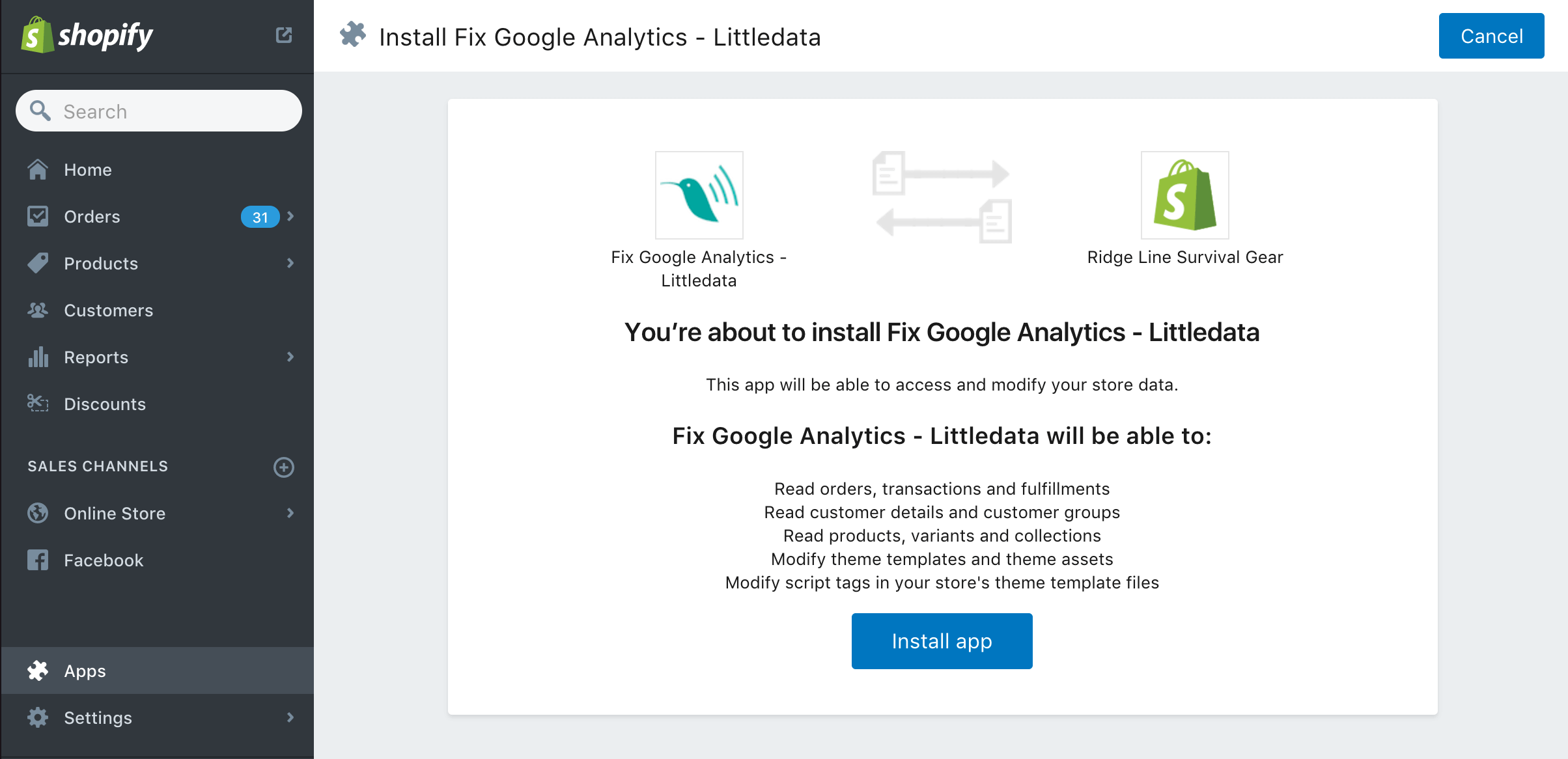 Fix Google Analytics for Shopify stores install the app step