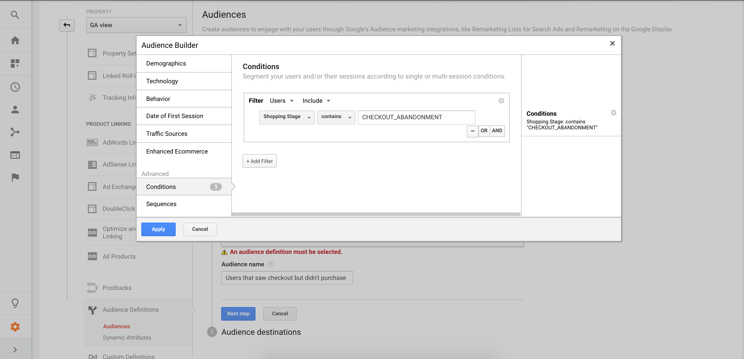 Create audiences in Google Analytics to share with Adwords