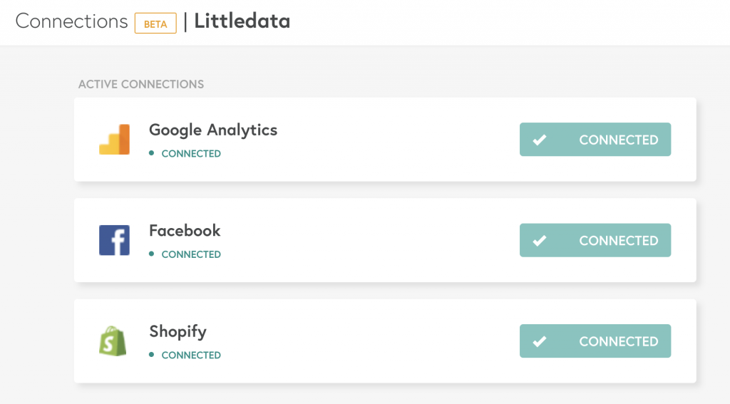Connections in the Littledata app